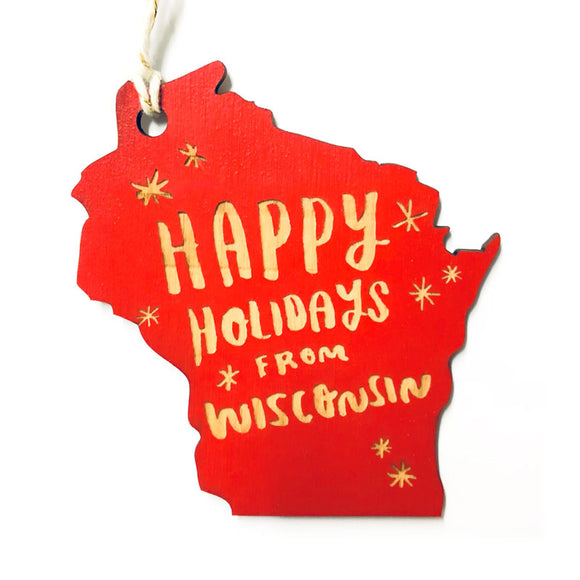 Photograph of Laser-engraved 'Happy Holidays from Wisconsin' Ornament - Large