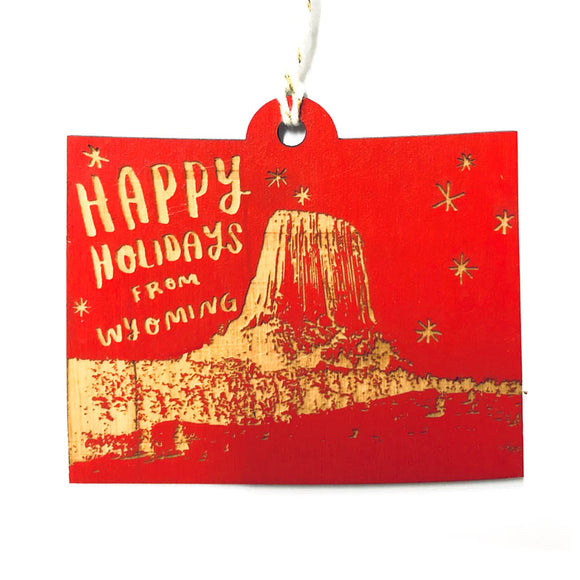 Photograph of Laser-engraved 'Happy Holidays from Wyoming' Ornament - Large