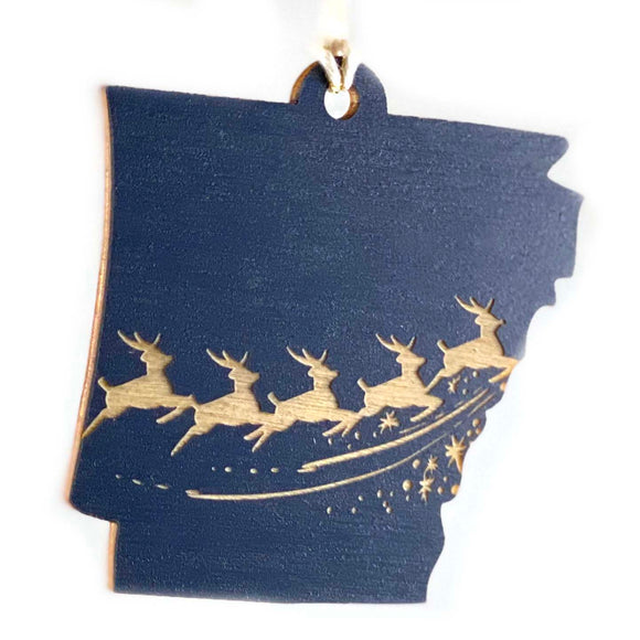 Photograph of Laser-engraved Arkansas Reindeer Ornament - Large