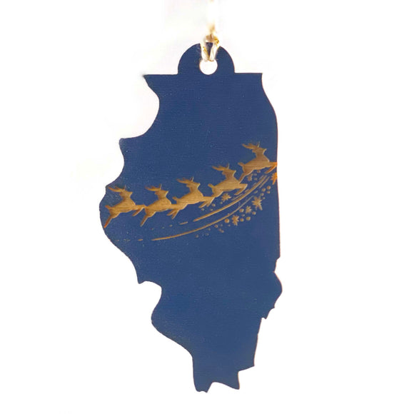 Photograph of Laser-engraved Illinois Reindeer Ornament - Large
