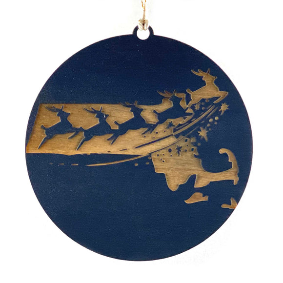 Photograph of Laser-engraved Massachusetts Reindeer Ornament - Large