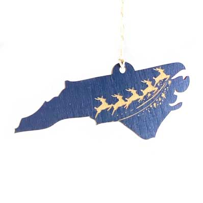 Laser-engraved North Carolina Reindeer Ornament - Large
