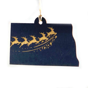 Photograph of Laser-engraved North Dakota Reindeer Ornament - Small