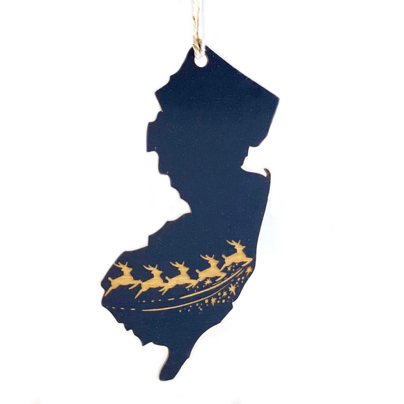 Photograph of Laser-engraved New Jersey Reindeer Ornament - Large