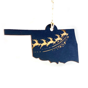 Photograph of Laser-engraved Oklahoma Reindeer Ornament - Large