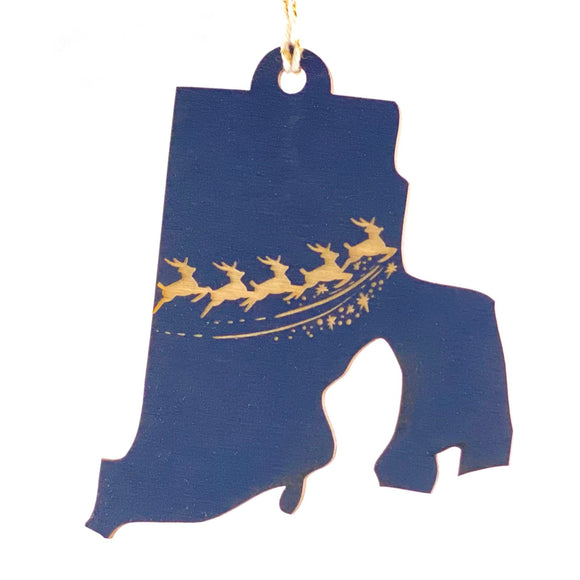 Photograph of Laser-engraved Rhode Island Reindeer Ornament - Large