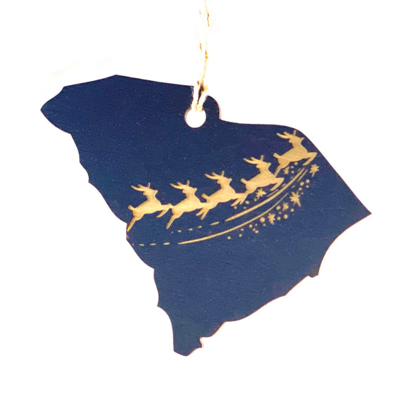 Photograph of Laser-engraved South Carolina Reindeer Ornament - Large