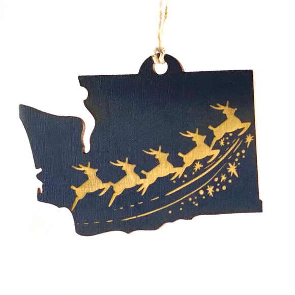 Photograph of Laser-engraved Washington Reindeer Ornament - Large
