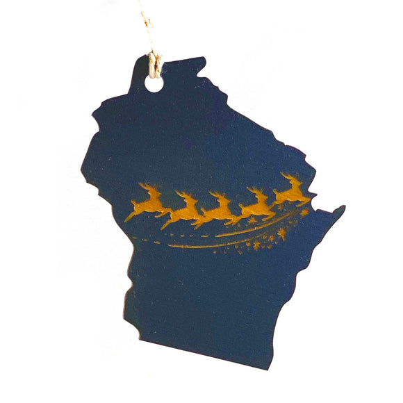 Photograph of Laser-engraved Wisconsin Reindeer Ornament - Small