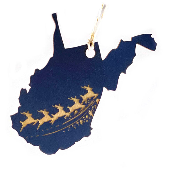 Photograph of Laser-engraved West Virginia Reindeer Ornament - Large