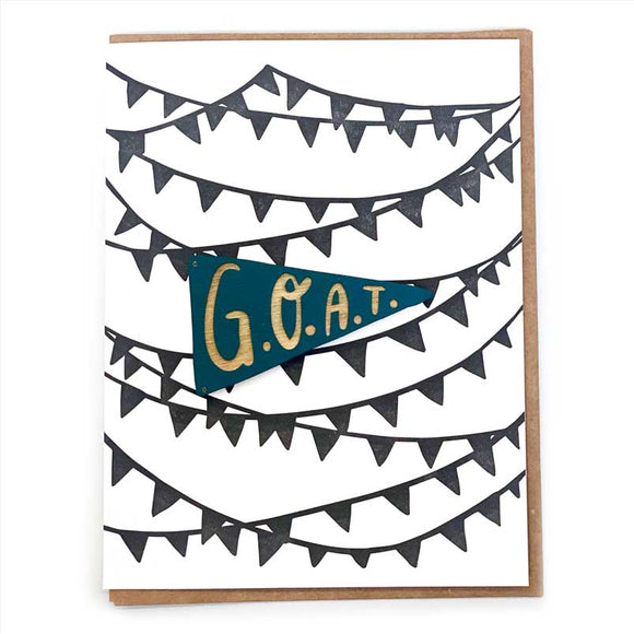 Laser-engraved 'G.O.A.T' Pennant Magnet with Card