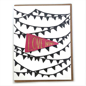 Laser-engraved 'Love Wins' Pennant Magnet with Card