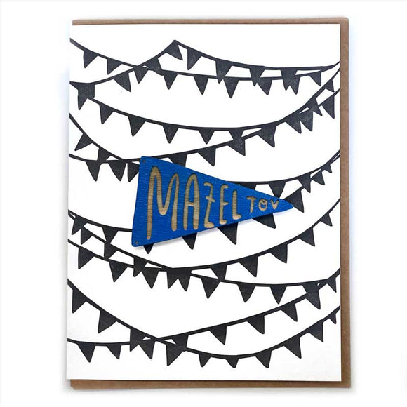 Laser-engraved 'Mazel Tov' Pennant Magnet with Card