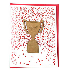 Laser-engraved 'Mom' Trophy Magnet with Card