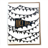 Laser-engraved 'Nice Try' Pennant Magnet with Card