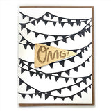 Laser-engraved 'OMG' Pennant Magnet with Card