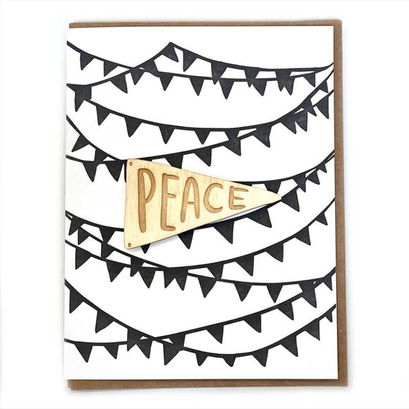 Laser-engraved 'Peace' Pennant Magnet with Card