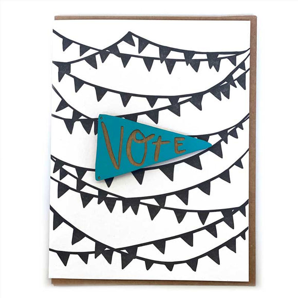 Laser-engraved 'Vote' Pennant Magnet with Card