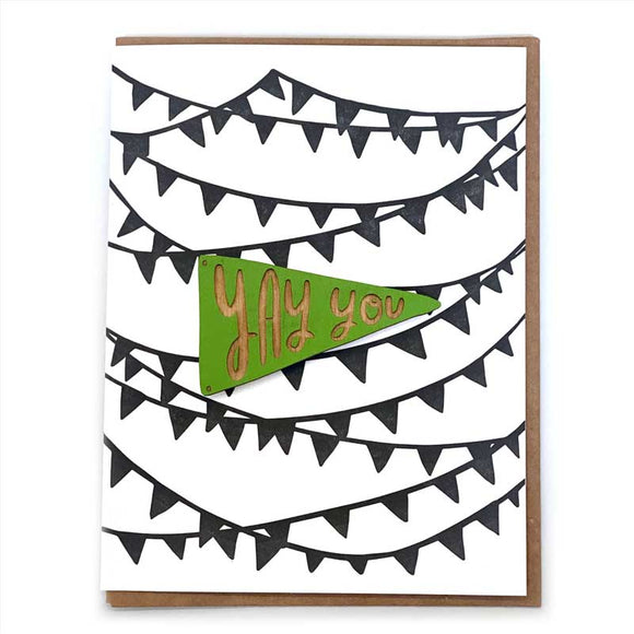 Laser-engraved 'Yay You' Pennant Magnet with Card