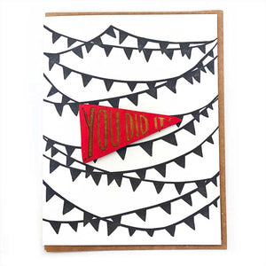 Laser-engraved 'You Did It' Pennant Magnet with Card