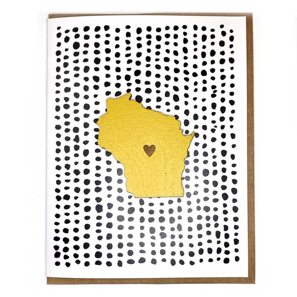 Photograph of Laser-engraved Wisconsin Heart Magnet with Card