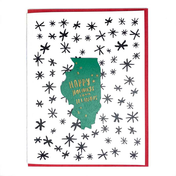 Photograph of Laser-engraved Happy Holidays from Illinois Magnet with Card