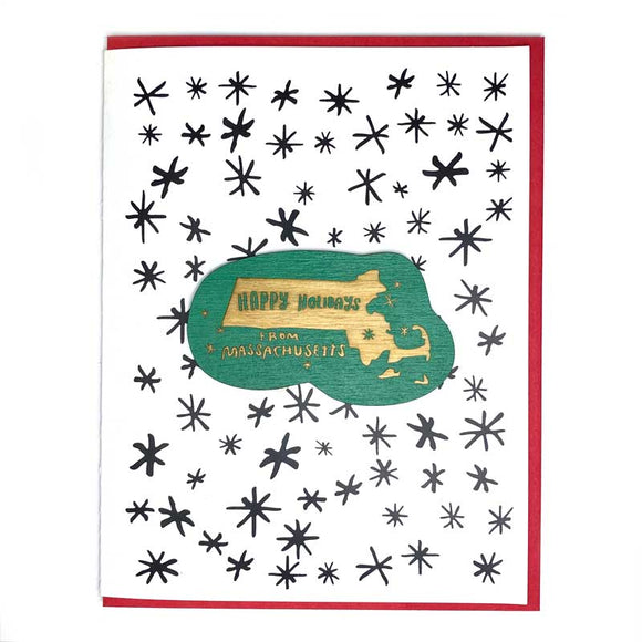 Photograph of Laser-engraved Happy Holidays from Massachusetts Magnet with Card