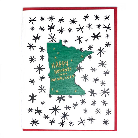 Photograph of Laser-engraved Happy Holidays from Minnesota Magnet with Card