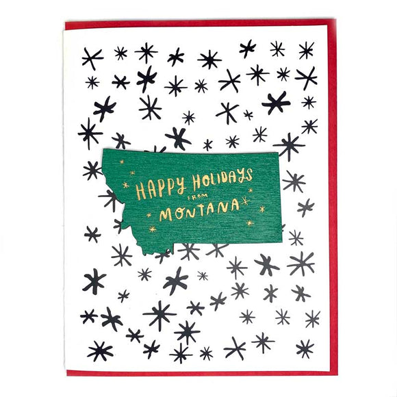 Photograph of Laser-engraved Happy Holidays from Montana Magnet with Card