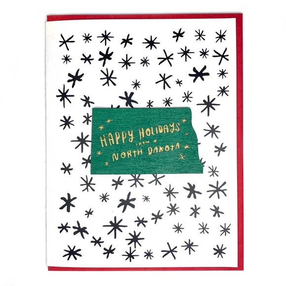 Photograph of Laser-engraved Happy Holidays from North Dakota Magnet with Card