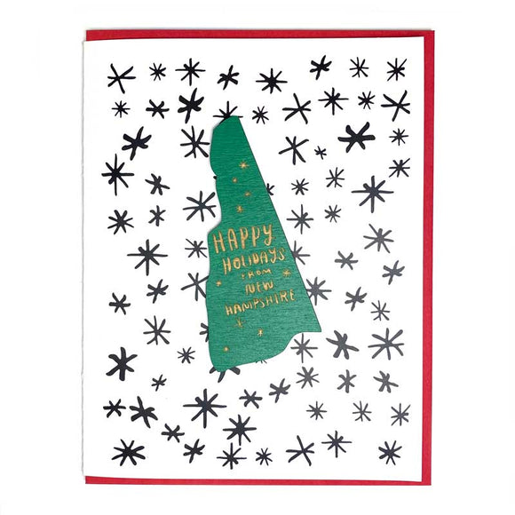 Photograph of Laser-engraved Happy Holidays from New Hampshire Magnet with Card