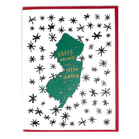Photograph of Laser-engraved Happy Holidays from New Jersey Magnet with Card