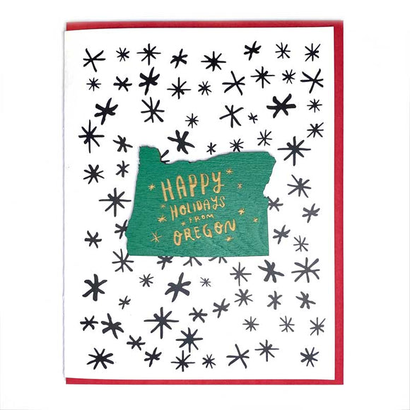 Photograph of Laser-engraved Happy Holidays from Oregon Magnet with Card