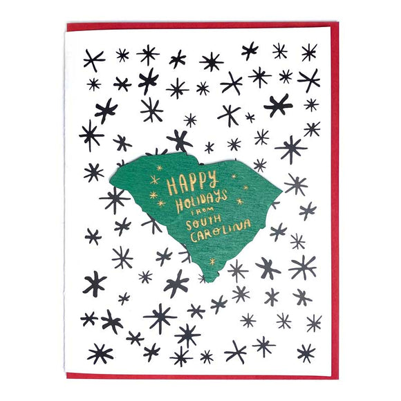 Photograph of Laser-engraved Happy Holidays from South Carolina Magnet with Card