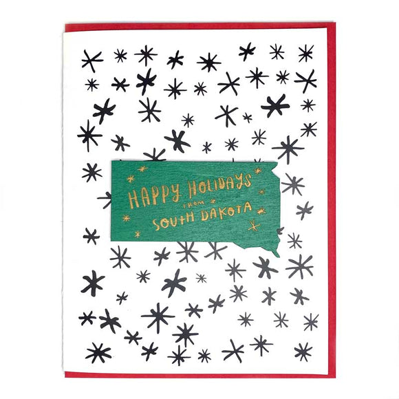 Photograph of Laser-engraved Happy Holidays from South Dakota Magnet with Card