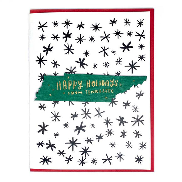 Photograph of Laser-engraved Happy Holidays from Tennessee Magnet with Card