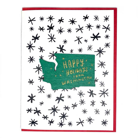 Photograph of Laser-engraved Happy Holidays from Washington Magnet with Card