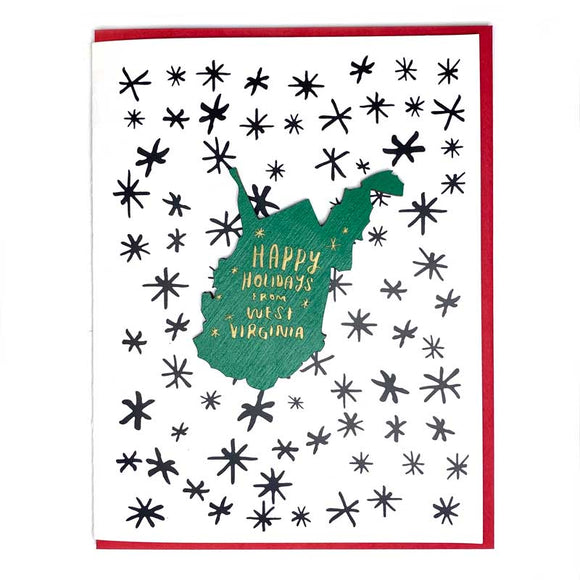 Photograph of Laser-engraved Happy Holidays from West Virginia Magnet with Card