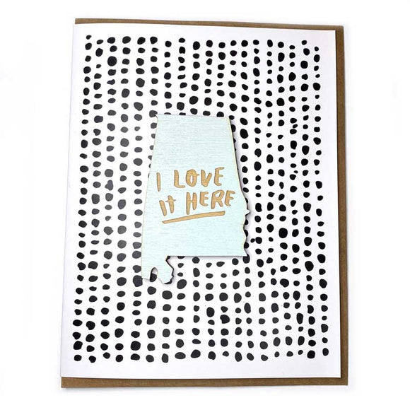 Photograph of Laser-engraved 'I Love It Here' Alabama Magnet with Card