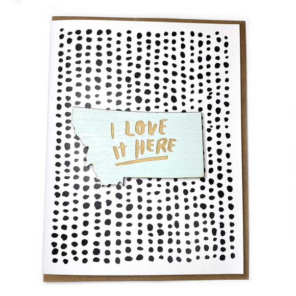 Photograph of Laser-engraved I Love It Here Montana Magnet with Card