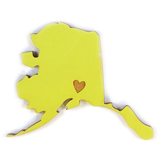 Photograph of Laser-engraved Alaska Heart Magnet