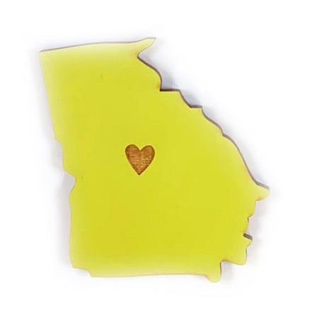 Photograph of Laser-engraved Georgia Heart Magnet
