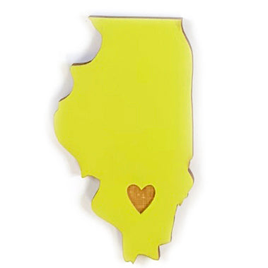 Photograph of Laser-engraved Illinois Heart Magnet