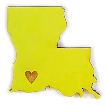 Photograph of Laser-engraved Louisiana Heart Magnet
