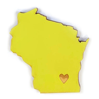 Photograph of Laser-engraved Wisconsin Heart Magnet