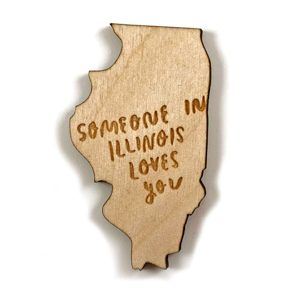 Photograph of Laser-engraved 'Someone in Illinois Loves You' Magnet