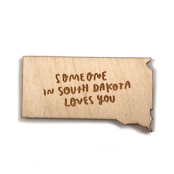 Photograph of Laser-engraved 'Someone in South Dakota Loves You' Magnet