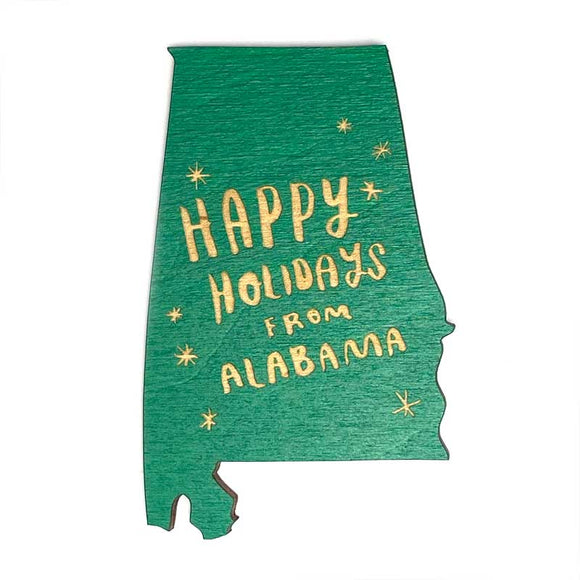 Photograph of Laser-engraved Happy Holidays from Alabama Magnet