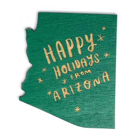 Photograph of Laser-engraved Happy Holidays from Arizona Magnet