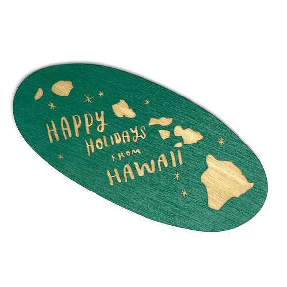 Photograph of Laser-engraved Happy Holidays from Hawaii Magnet